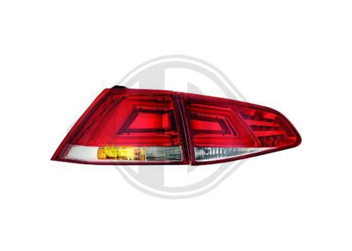 Back Rear Tail Lights Pair Set LED Red White Chrome For VW Golf VII 12-On - 1