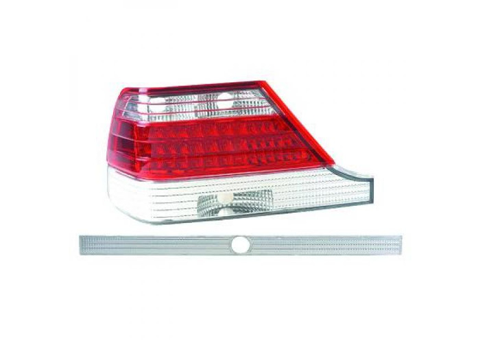 Back Rear Tail Lights Pair Set LED Red White For Mercedes-Benz W140 91-98 - 1