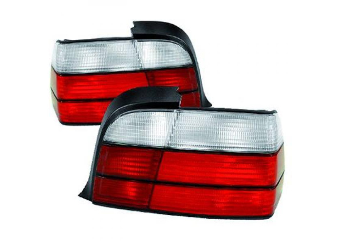 Back Rear Tail Lights Pair Set White For BMW 3 Series E36 Saloon 90-99 - 2