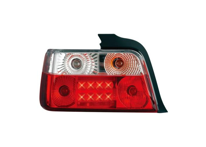 Back Rear Tail Lights Red-Clear Crystal-Look LED Pair For BMW E36 Saloon - 1