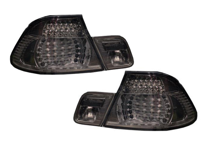 Back Rear Tail Lights Smoke Crystal-Look LED Pair For BMW E46 Saloon 98-01 - On - 1