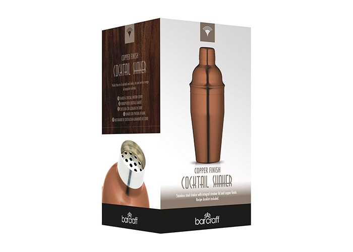 Bar Craft Luxe Lounge 500 ml Stainless Steel Cocktail Shaker, Copper - 2
