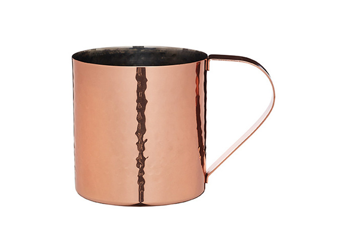 Bar Craft Luxe Lounge 550 ml Hammered Stainless Steel Moscow Mule Mug, Copper - 1