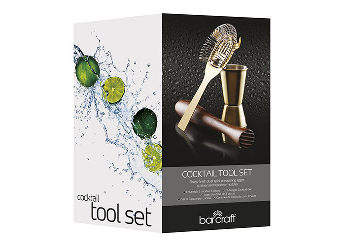 BarCraft Cocktail Tool Kit and Stand (5-Piece Gift Set) - Brass Finish - 2