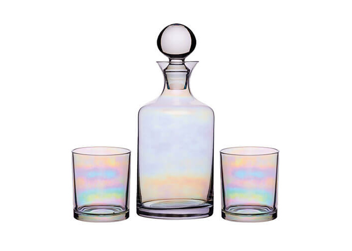 BarCraft Glass Gin/Whisky Decanter and Tumbler Gift Set (3 Pieces) - Rainbow-Pearl Iridescent Finish - 1