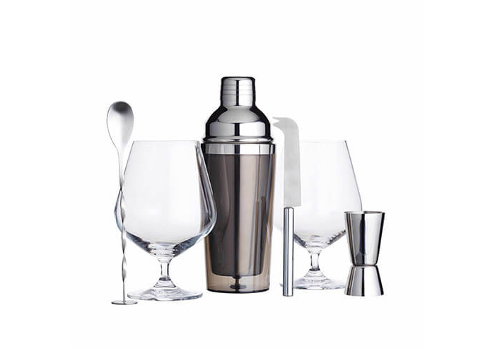 BarCraft Luxury Gin Glasses and Cocktail Making Kit (6-Piece Gift Set) - 1