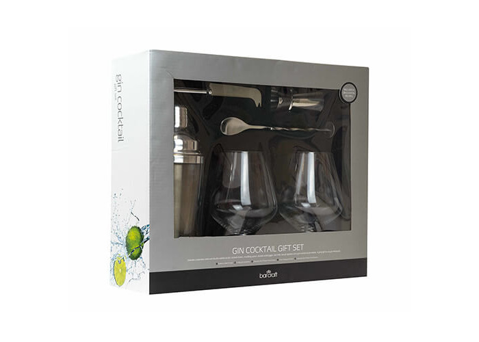 BarCraft Luxury Gin Glasses and Cocktail Making Kit (6-Piece Gift Set) - 2