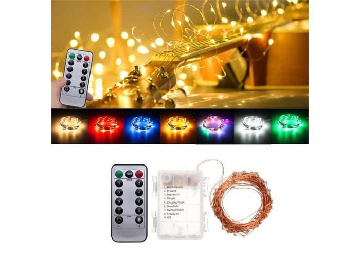 Battery Powered 10M 100LEDs Waterproof Copper Wire Fairy String Light for Christmas +Remote Control - 1