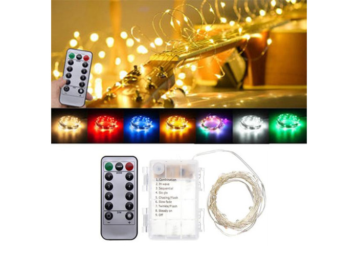 Battery Powered 5M 50LEDs Waterproof Silver Wire Fairy String Light for Christmas +Remote Control - 1