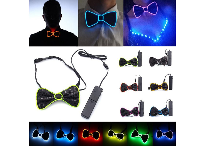 Battery Powered LED Light Up EL Mens Bow Tie Necktie for Halloween Wedding Party DC3V - 1