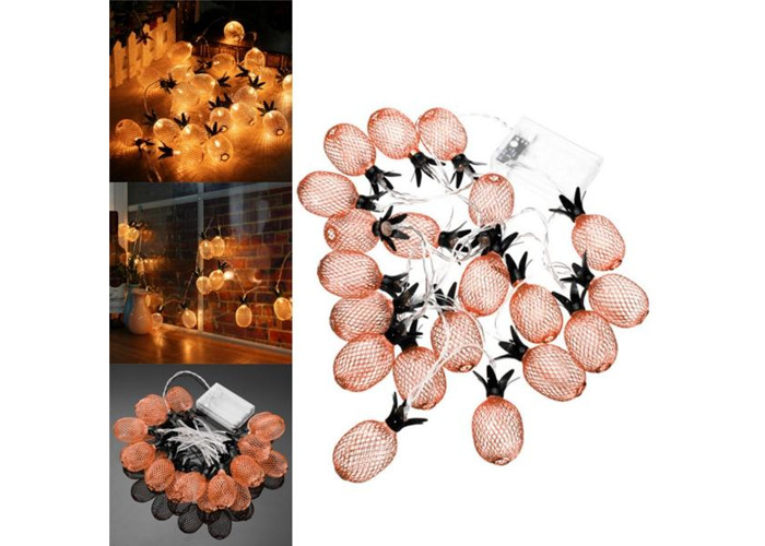 Battery Powered Warm White Metal Pineapple Shaped Indoor LED Fairy String Light for Christmas Party - 1