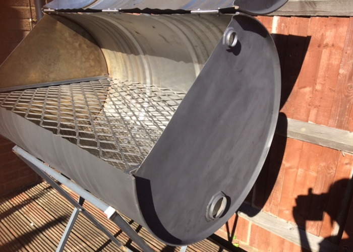 #1 of 2 Large Oil Drum BBQ  Charcoal Barbeque Grill Barbecue - 2