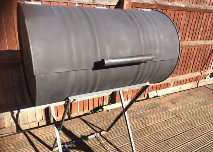 #1 of 2 Large Oil Drum BBQ  Charcoal Barbeque Grill Barbecue - 1