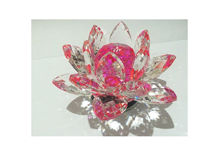 Beautiful CRYSTAL LOTUS Flowers Ornament With Gift Box for Wedding/Home/Office Decoration (Size - 6.5 x 10 x11 CMS APPROX, PINK) - 1