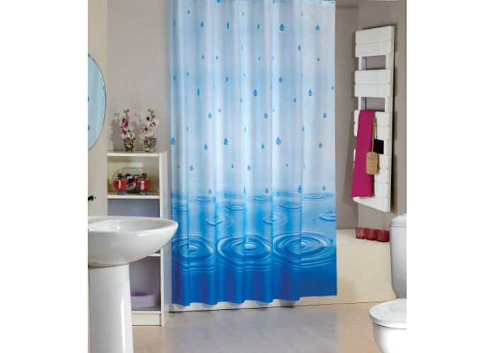 Beautiful fabric shower curtain 180CM wide by 180CM long, rings included (Rain Drops) - 1
