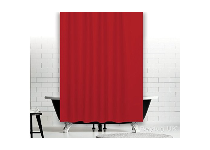 Beautiful red fabric shower curtain 180CM wide by 180CM long, rings included (Red) - 1