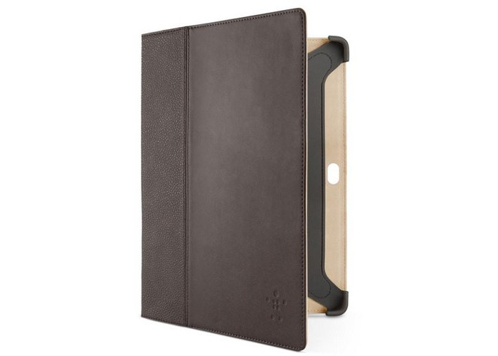 Belkin Cinema Leather Folio Case with Stand for 10.1-inch Samsung Tab - Brown - 1