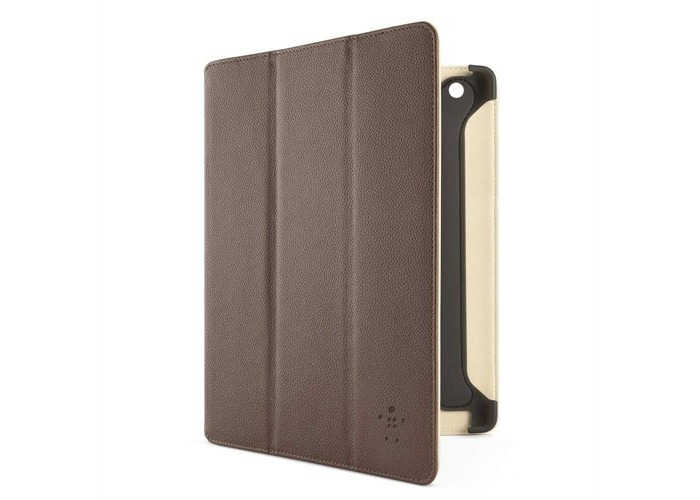 Belkin Leather Smart Of/Off Trifold Case Cover with Stand for iPad 2, iPad 3 and iPad 4 with Retina Display - Brown - 1