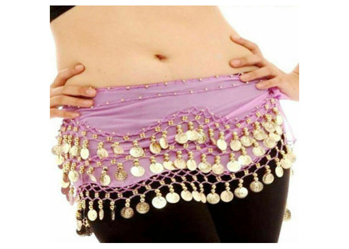 Black Belly Dance Hip Skirt Scarf Wrap Belt costume with 3 Rows Gold Coins USA
