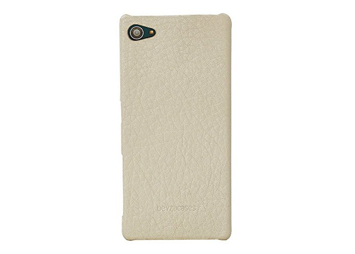Beyzacases Genuine Leather Feder Shell Case for Sony Xperia Z5 Compact - Cream - 1