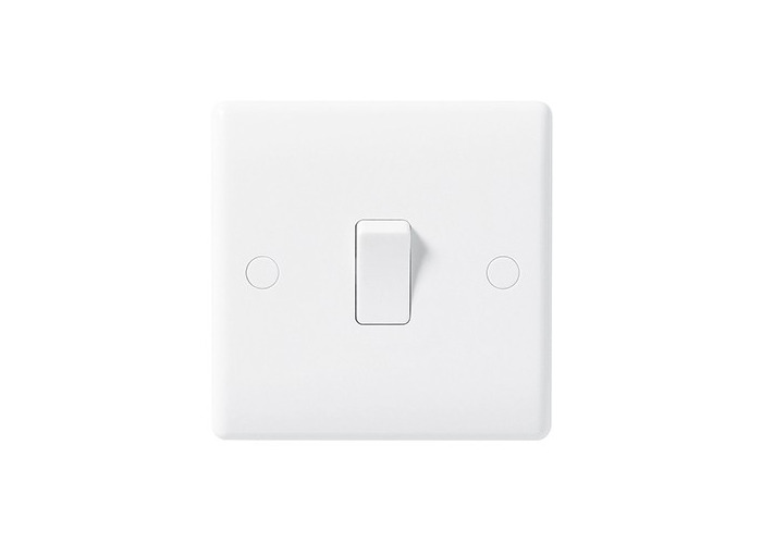BG Nexus White Moulded 10A Single Light Switch - 1
