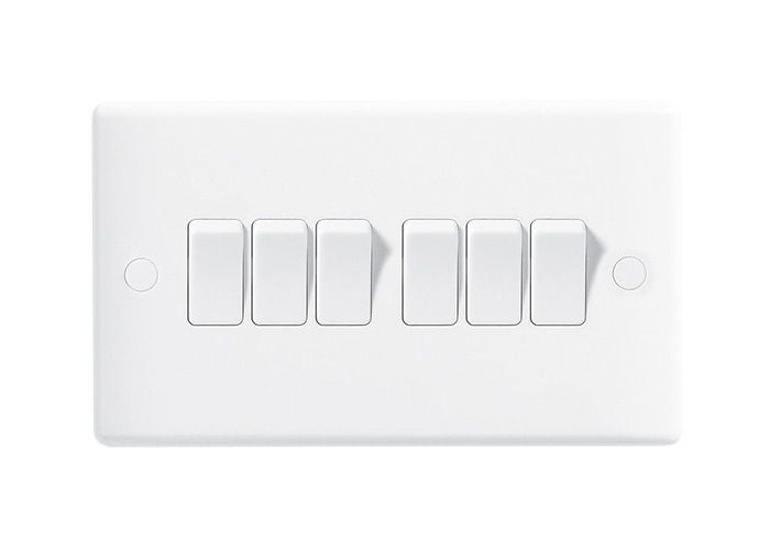 BG Nexus White Moulded 10A Six Way Light Switch - 1