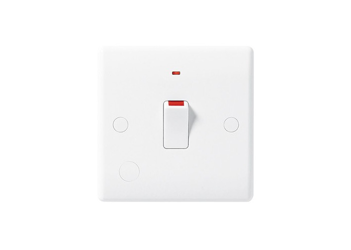 BG Nexus White Moulded 20A Single Double Pole Switch, Flex Outlet, Neon Indicator - 1