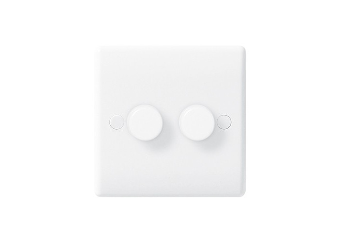 BG Nexus White Moulded Double Dimmer Switch, Push On/Off 400W - 1