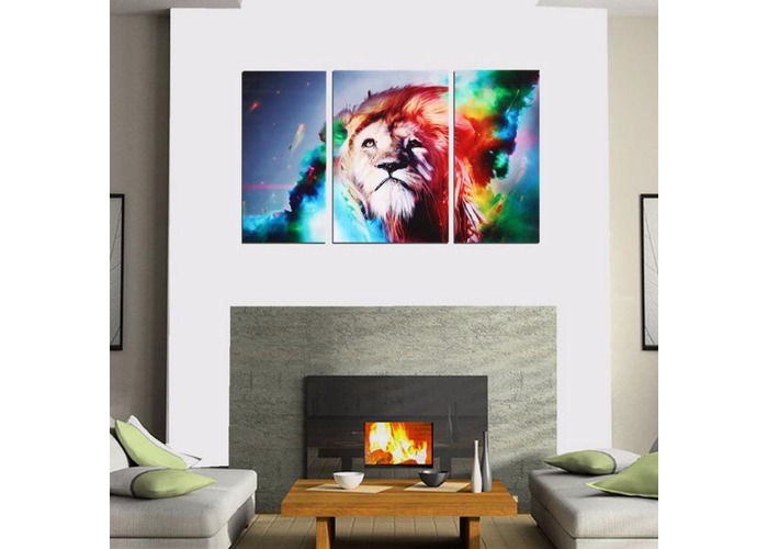Big Colorful Lion Frameless Canvas Prints Modern Wall Art Picture Home Decor - 2