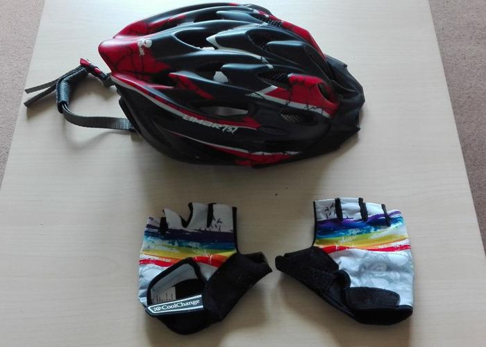 Bike Helmet and Gloves - 1
