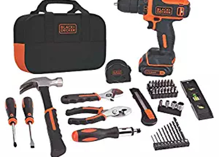 Black + Decker Tool Kit and Power Drill  - 1