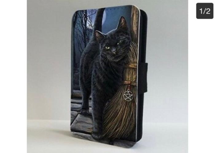 Black Cat Salem Witches Broom FLIP PHONE CASE COVER  - 1