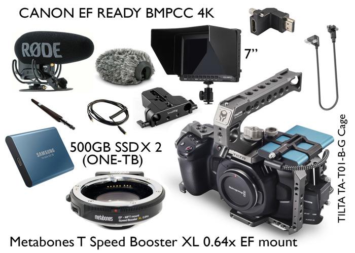 Black magic pocket cinema camera 4K 6K bmpcc with EF mount metabones Tilta cage - 1