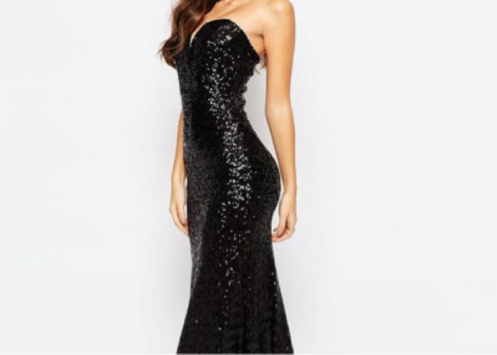 Black Sequin Ball Gown Dress - 1