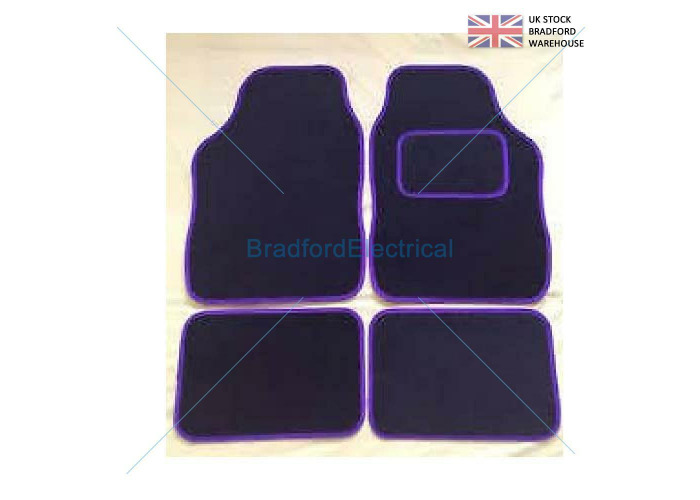 BLACK WITH PURPLE TRIM 4 PIECE UNIVERSAL NON SLIP CARPET CAR MATS - 1