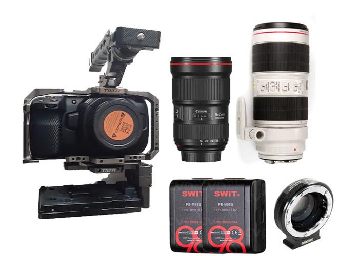 Blackmagic Pocket 4k + cage + 2 lenses - 1