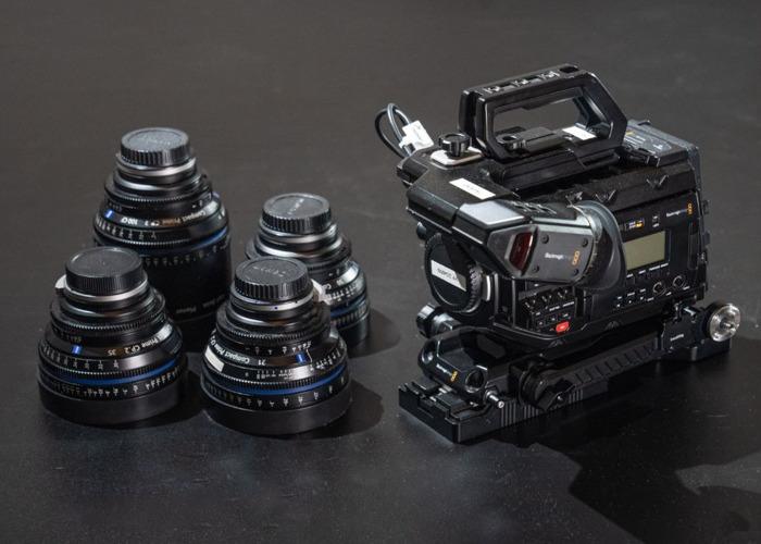 Blackmagic URSA Mini 4.6k Pro + 4x Zeiss CP2 Lenses ( 21mm / 35mm / 50mm / 100mm ) + Tilta Wireless Follow Focus + 760gb Storage + 4 x Batteries Full Film Bundle - 1