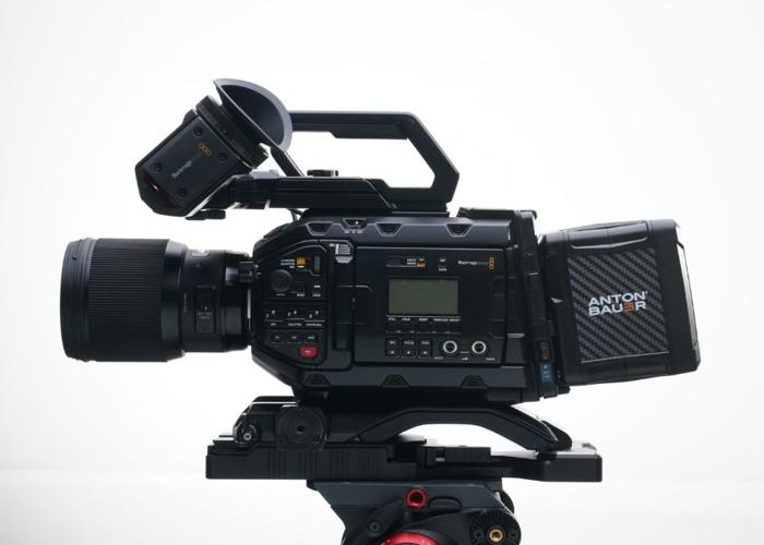 Blackmagic URSA Mini 4.6k Pro + 5x Sigma Art Prime Lenses ( 24mm / 35mm / 50mm / 85mm / 135mm)+ Tilta Wireless Follow Focus + Shoulder Mount Kit + 760tb Storage + 4 Batteries Full Film Bundle - 1