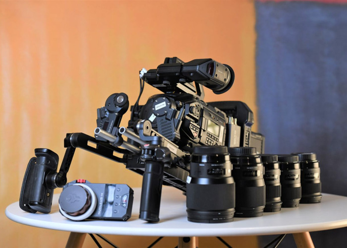 Blackmagic URSA Mini 4.6k Pro EF + 5x Sigma Art Prime Lenses ( 24mm / 35mm / 50mm / 85mm / 135mm)+ Tilta Wireless Follow Focus + Shoulder Mount Kit + 760tb Storage + 4 Batteries Full Film Bundle - 2