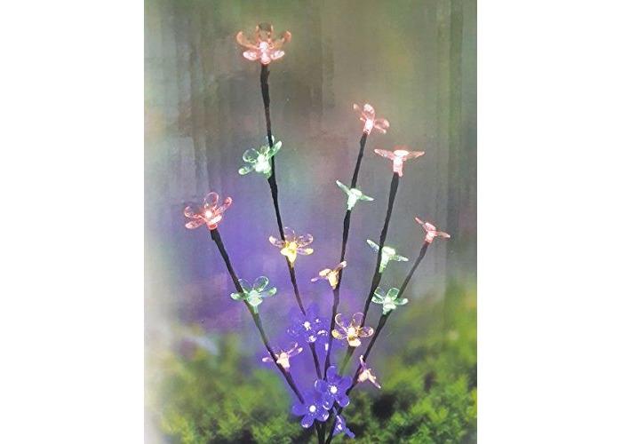 Blackspur 20 LED SOLAR FLOWER STRING MULTI COLOUR LIGHT GARDEN DECORATION - 1