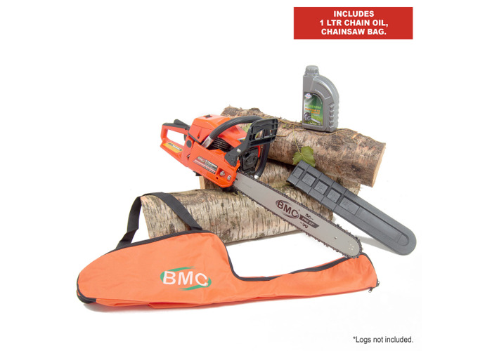 BMC 20'' Easy Start 55cc Chainsaw with 1 Litre Chain Oil & Storage / Carry Bag - 1