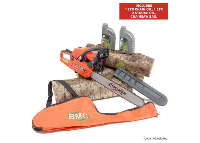 BMC 20'' Easy Start 55cc Chainsaw with 1L Chain & 1L 2 Stroke Oil & Bag - 1