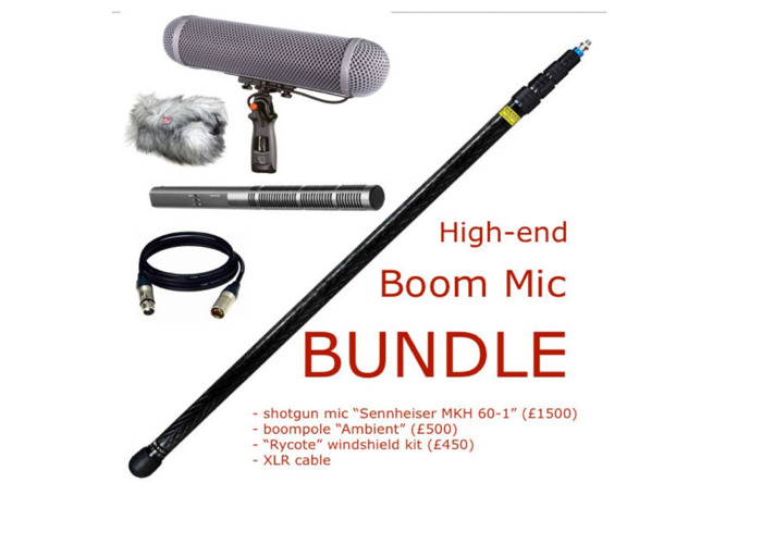 Boom Mic bundle (shotgun mic sennheiser mkh 60-1, boompole, xlr cable, rycote windshield, 416, wind protector, boommic) - 1