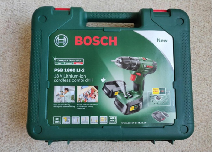 Bosch 1800 LI-2 Cordless Combi Drill with Two 18 V Lithium-Ion Batteries - 1
