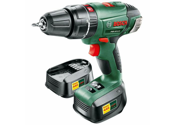 Bosch PSB 18 LI-2 Cordless Lithium-Ion Combi Drill with 2 Battery Packs (2 x 2.0 - 1