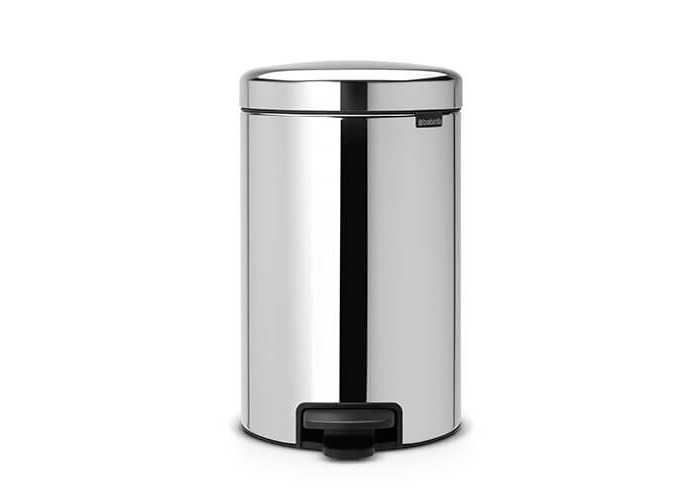 Brabantia Pedal Bin newIcon with Plastic Inner Bucket, 12 Litre - Brilliant Steel - 1