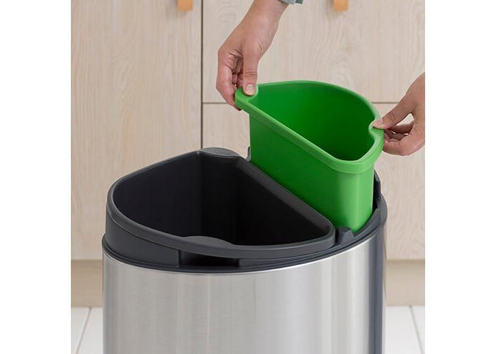 Brabantia Recycling Touch Bin with Plastic Buckets, 10 L and 23 L - Matt Steel Fingerprint Proof - 2