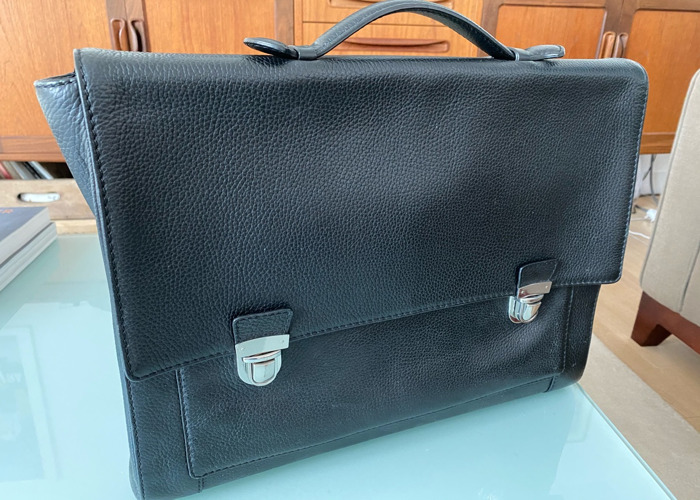 Reiss Briefcase leather (black) - 1