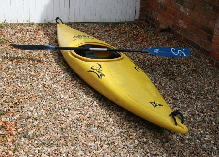 bright yellow 1980s Perception Dancer Kayak  - 1