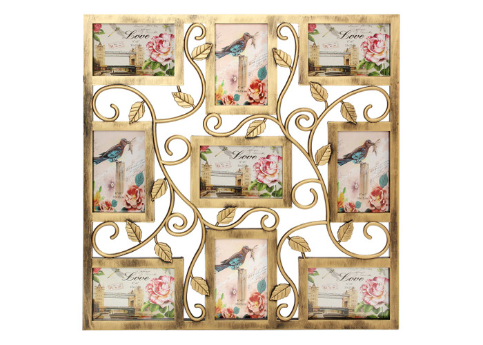 Bronze Floral Wall Hanging Collage Photo Frames Picture Display Decor Gift 6X4inch - 1